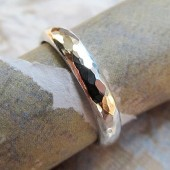 Domed Silver Bride or Groom's Ring, Rustic Metalwork Band