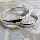 Wedding Ring Set,  Sterling Silver Rustic Metalwork Bands