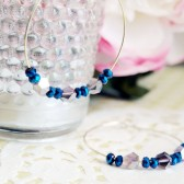 Cobalt Blue Beaded Gold Hoop Earrings