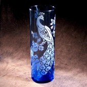 Peacock Wedding Vase, comes in blue or clear glass