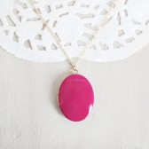Large Oval Locket - Pink Enamel