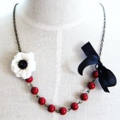 Red Black & White Bridesmaids Necklace
