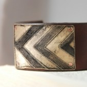 Men's Etched Brass Chevron Cuff on Leather