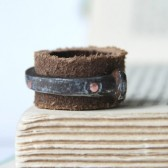 Mens Leather And Antique Barn Nail Ring