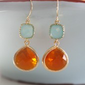 Tiffany Blue Tangerine Earrings