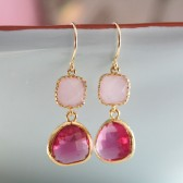 Pink Glass Gold Wrapped Earrings