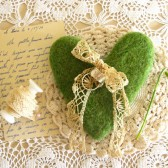 Mossy Heart Needle Felted Ring Bearer