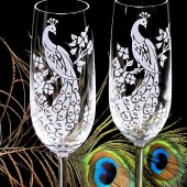 peacock wedding champagne flutes, engraved fine crystal
