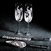 Peacock Wedding Set, Champagne Flutes, Cake Server Set