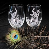 peacock wedding wine glasses, engraved