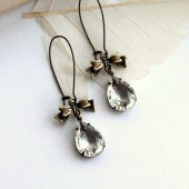 A Clear Vintage Glass Pear shaped Earrings.