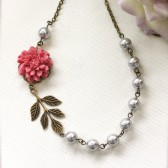 A Sweet Rose Pink Flower, Oxidized Branch Leaf , Silver Grey Swarovski Pearls Antiqued Brass Necklace.