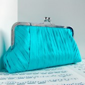 Turquoise blue silk pleated clutch