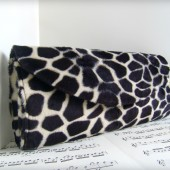 Black giraffe print clutch
