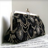 Black and silver lace clutch