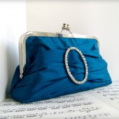Teal silk clutch with rhinestone buckle