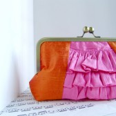 Pink and orange ruffle clutch