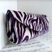 Purple zebra clutch