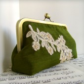 Olive green silk clutch with lace