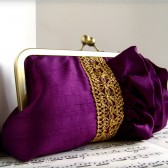 Purple ruffle silk clutch