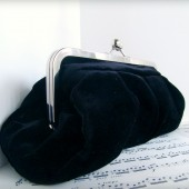 Black velvet clutch with chain