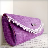 Purple tweed clutch