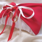 White and red Ring bearer pillow - Our first kiss