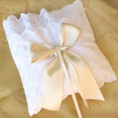 Ring bearer pillow - white and ivory - romantic lace elegant