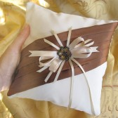 Ring bearer pillow - brown ivory white elegant