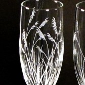 Beach Wedding Toasting Flutes, Sea Grass, Etched Glass
