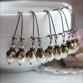 Set of Five (5) Bridesmaid Earrings - Vintage Style Swarovski Ivory Pearls Earrings