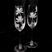 Tropical Beach Wedding Champagne Flutes, Fine Crystal
