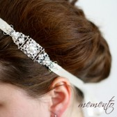 Cara Swarovski Rhinestones and Pearls Ribbon Headband by Mauve Binchely / Bridal Hair Accessories / Weddings / Vintage look / Bridesmaid
