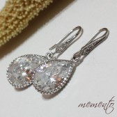 Anabela Silver Pleated Cubic Zirconia Earrings by Mauve Binchely / Rhinestone Earrings / Vintage Glam / Bridal Jewelry / Weddings