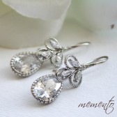 Samantha Silver Pleated Cubic Zirconia Earrings by Mauve Binchely / Rhinestone Earrings / Vintage Glam / Bridal Jewelry / Weddings