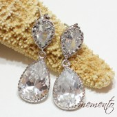 Diane Silver Pleated Cubic Zirconia Earrings by Mauve Binchely / Vintage Glam / Bridal Jewelry / Weddings / Rhinestone Earrings