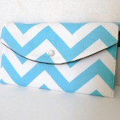 Aqua Chevron Clutch