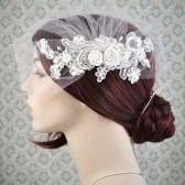 wedding veil, birdcage veil - tulle blusher veil with lace and silk flowers