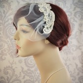 blusher veil, wedding veil with lace and swarovski pearls