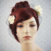 black birdcage veil - black blusher veil with cream flowers