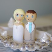 Beach Wedding Cake Topper with Seashells and Custom Dolls