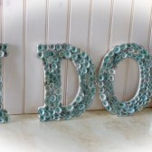 Beach Wedding Seashell Decor - I Do - Limpet Shells Spell I Do - Aqua