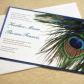 Blue Peacock Wedding Invitation