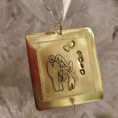 Bride & Groom Brass Christmas Ornament Wedding Personalized