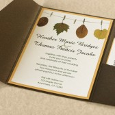 Autumn Leaves on Clothes Pin Modern Wedding Invitation