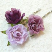 violet rose bobby pin trio