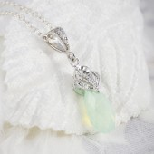 bridal necklace, bridesmaid necklace with cubic zirconia and swarovski crystal pendant
