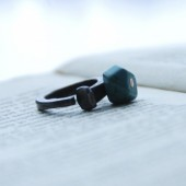 Geometric Turquoise Barn Nail Ring