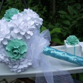 Bouquet - handmade paper flowers - tiffany blue inspired