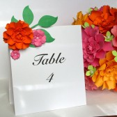 Table Number Cards - The marigold paper flower
